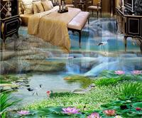 Custom Vinyl Flooring Bathroom Mural Waterfalls Lotus 3d Pvc Flooring Waterproof Murals Wallpaper 3d Flooring Photo