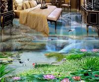 custom vinyl flooring bathroom mural Waterfalls Lotus 3d pvc flooring waterproof murals wallpaper 3d flooring photo wall murals