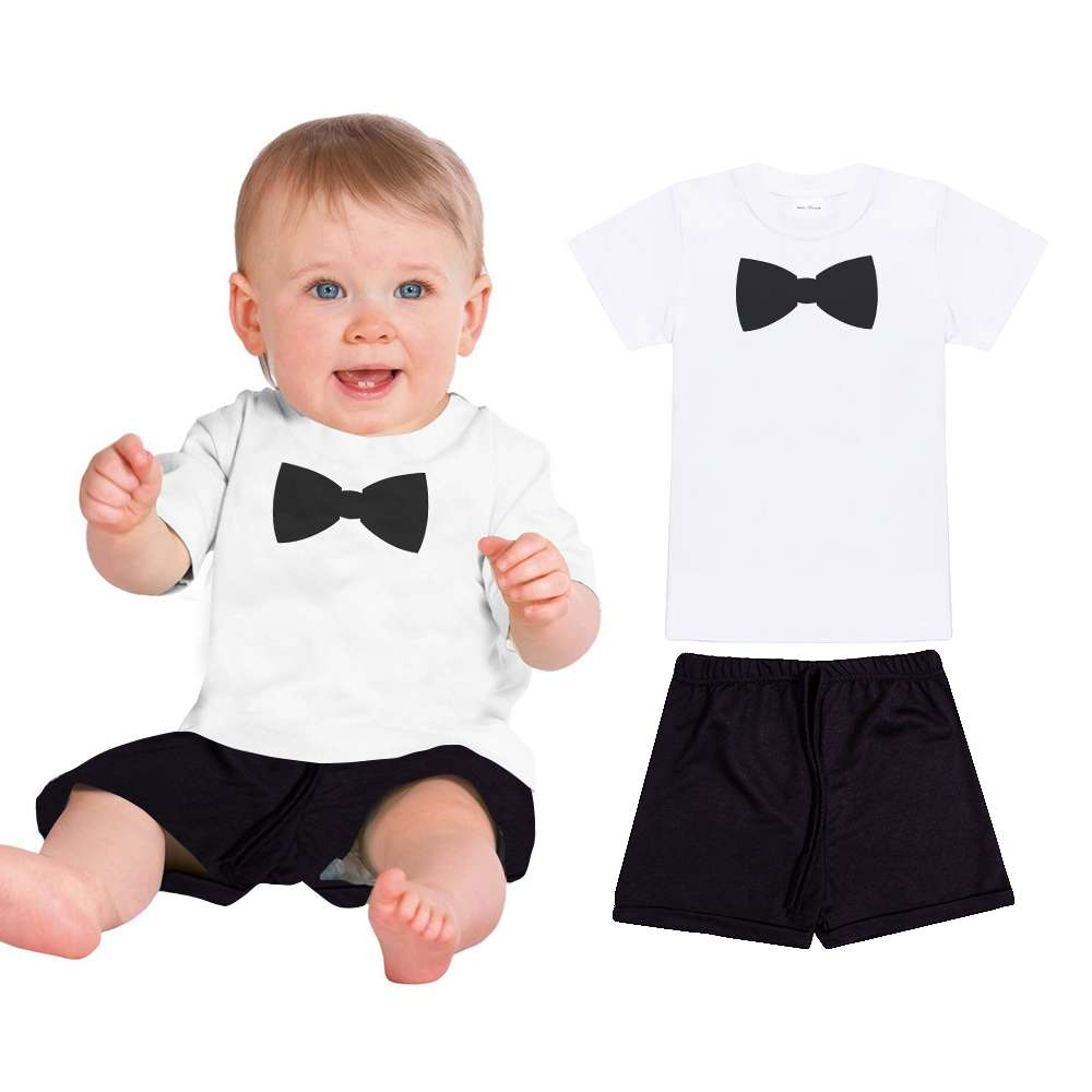 2017 Summer Baby Boys Clothes Suits Gentleman Style Kids Lovely Bow Tie Print Shirt+Pants 2 Pcs Infant Casual Suits Children Set