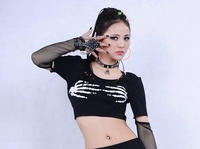 New Fashion Hip Hop Top Dance Female Jazz Costume Performance Wear Stage Clothing Skull Sexy ultra short t shirt
