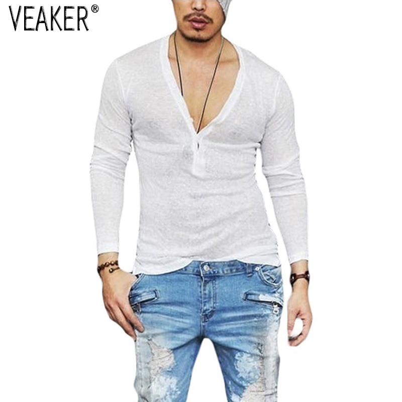 Maglietta da uomo in lino autunnale, magliette in lino bianco a maniche lunghe - Men's Autumn Linen T shirt, Male Sexy Deep V Neck Slim Fit, T shirts Casual White Long Sleeve Linen T-shirts, Tops S-2XL