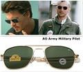 2016 Nuevos MILITARES Del Ejército Americano AO Marca gafas de Sol de la Lente de Cristal Óptico Marco de Aleación de Metal Gafas de Sol Gafas de Sol Masculino