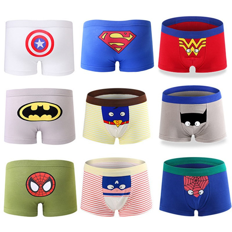 Hot 5 Pcs/lot Children Cotton Underwear Comic Spiderman Batman Boys Girls Cartoon Underwear Boxer Briefs Panties For Kids