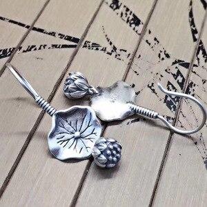 Image 5 - BALMORA gerçek 925 ayar gümüş Lotus çiçek bırak Dangle küpe kadınlar için anne hediye Vintage zarif moda takı