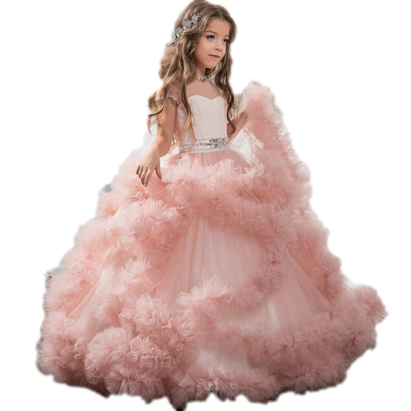 Luxury Flower Girls Dresses For Wedding Kids Pageant Flower Girl Prom Dress Ball Gown Evening Gowns Tulle Cloud Party Dress E110 new dubai girl s pageant dresses crystals blue lace ball gown glamorous kids pageant dress flower girls gowns for wedding