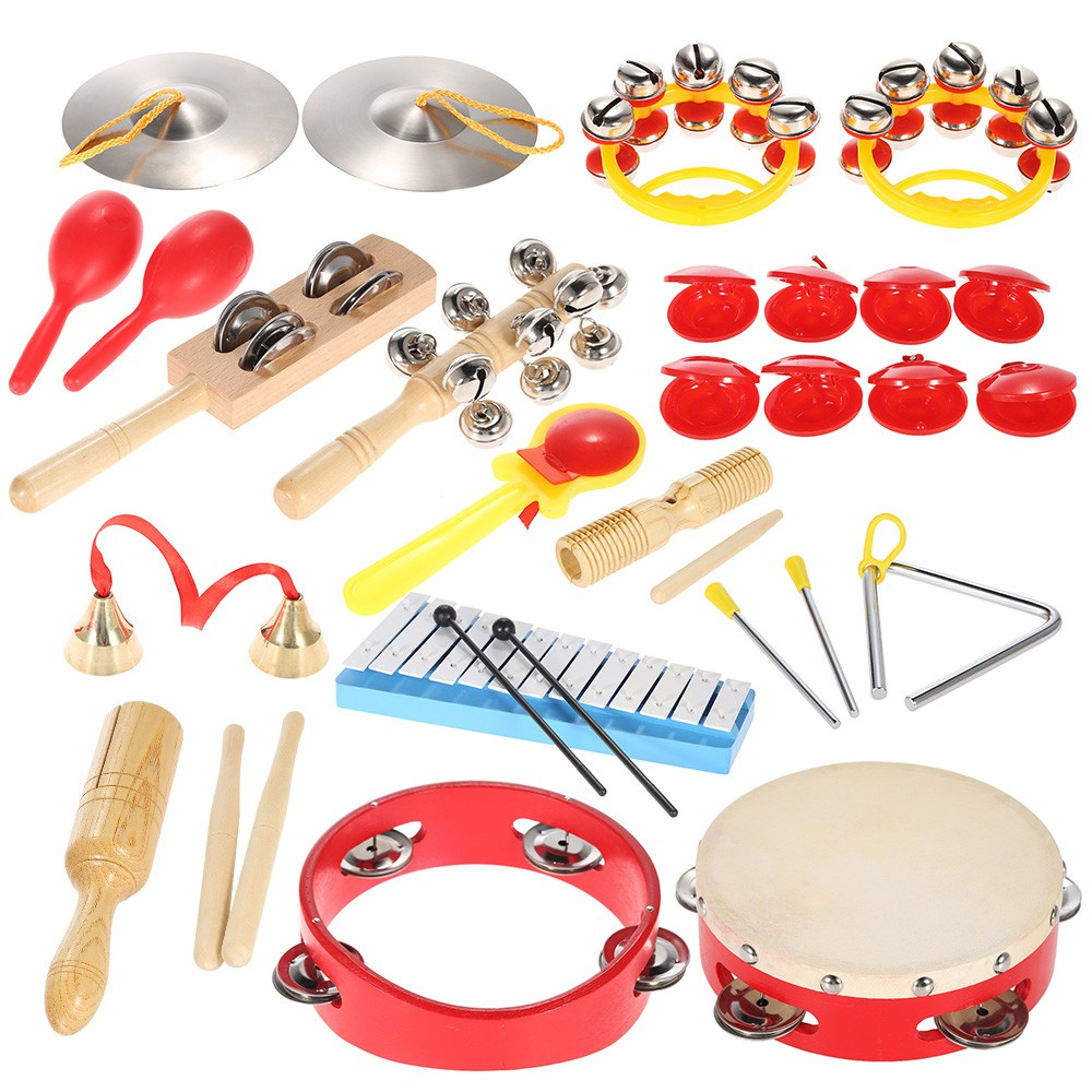 High Quality Kids Children Toddlers Musical Percussion Set Toys Instruments Band Rhythm Kit With Carrying Bag free ship 1 set 12pc children kids wooden metal percussion orff musical instrument set music early education