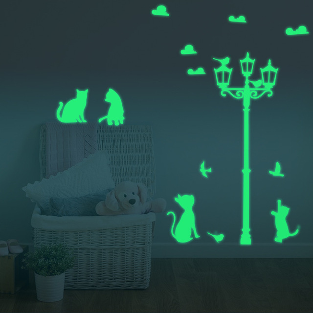 light cats luminous stickers decorative wall stickers for kids rooms