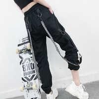 2019 Harajuku Cargo Pants Women High Waist Loose Pockets Pants Womens korean Streetwear Hip Hop trousers women pantalon mujer
