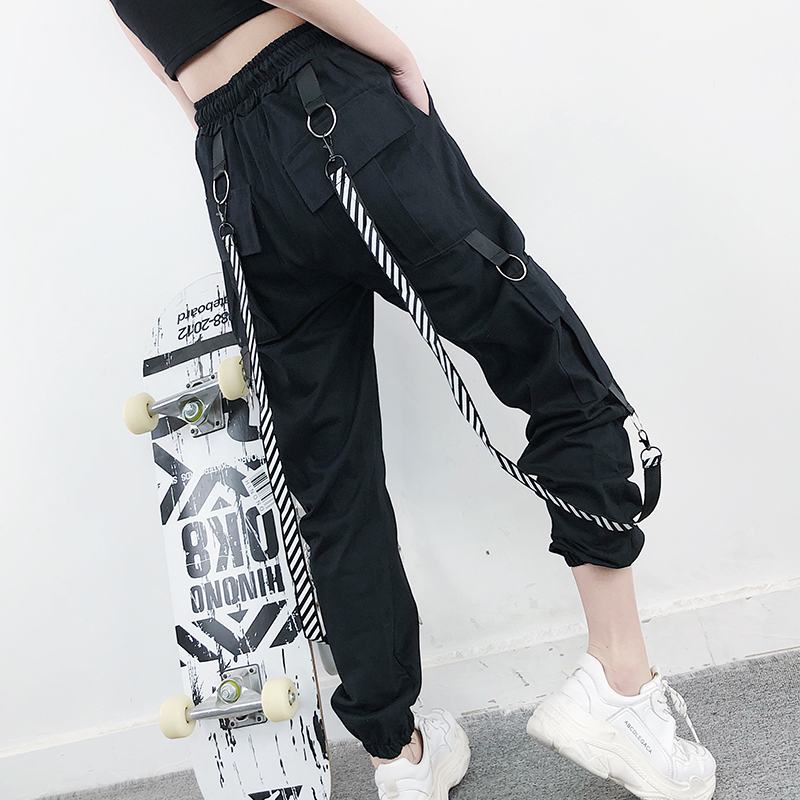 2020 Harajuku Cargo Pants Women High Waist Loose Pockets Pants Womens Korean Streetwear Hip Hop Trousers Women Pantalon Mujer