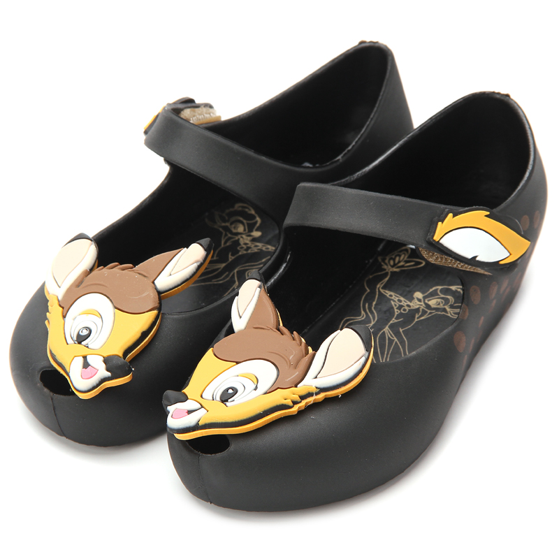 Melissa 2018 Deer Mini Bambi Shoes Printed Flower New Winter Jelly Shoe Sandals Fish Mouth Girl Non-slip Kids Sandal Toddler