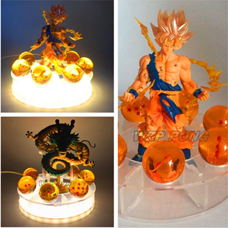 Nouveau Dragon Ball Super Saiyan Son Goku Shenron lumière LED modèle Statue PVC Goku Combat dommages décoration jouets cadeau d'anniversaire