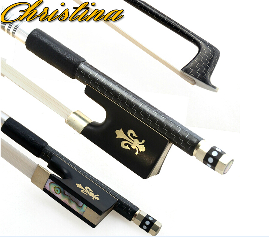 Free Shipping Top Grade Silver Braided Carbon Fiber 4 4 Violin Bow Best Balance AAA Mongolia