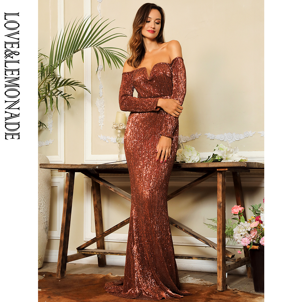 Love Lemonade Orange Deep V Collar Long Sleeve Elastic Sequin Material Long Dress LM80273 OG