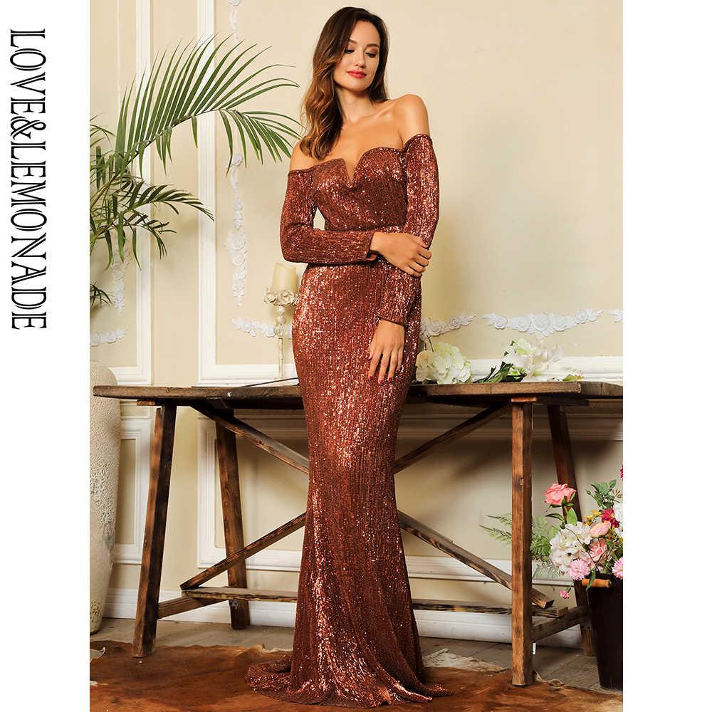 b47972a025f Любовь и лимонад оранжевый Глубокий V воротник с длинным рукавом эластичные  материал с пайетками длинное платье