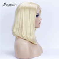 StrongBeauty Short Bob Wig Blonde Synthetic Heat Resistant Glueless Straight Lace Front Wigs for Black Women