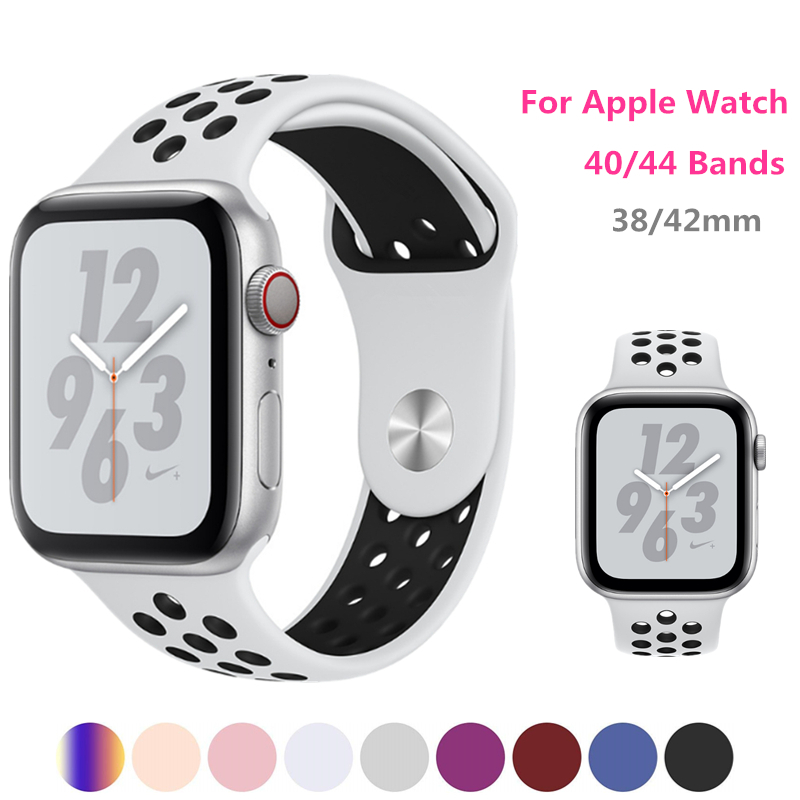 Sport band for Apple Watch Nike+ Series 4 Bracelet 40mm 44mm Wrist Strap Link belt for iwatch series 3/2/1 38mm 42mm watchband apple watch band 38mm 42mm secbolt metal replacement wristband sport strap for apple watch nike series 3 series 2 series 1