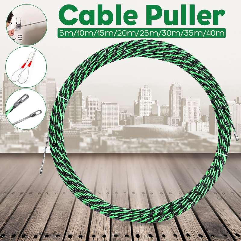 5-40 м 5 мм зеленое направляющее устройство из стекловолокна Электрический кабель Push Pullers воздуховод змеи роддер Рыбная лента провод + два каб...