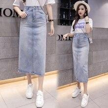 Moda mujer alta cintura larga falda de mezclilla más tamaño 2018 nueva  llegada del verano Mujer Jeans Casual A-line faldas S-5XL 7346d90955cc