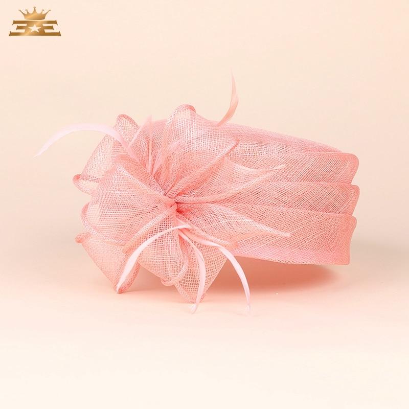Lady New Fedoras Organza Hat Female Elegant Flax Yarn Flat Sweet Flower Hat Women Banquet Party