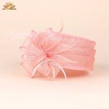 Lady New Fedoras Organza Hat Female Elegant Flax Yarn Flat S