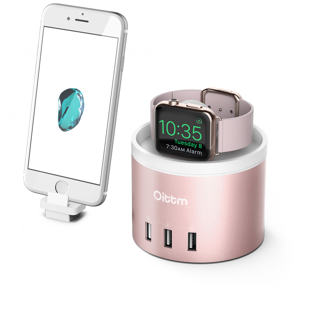 Oittm Charging Dock for Apple Watch Charger Stand 3 Port USB 3 0 Charger Dock With
