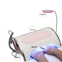 Ventilador 3 en 1 de gran potencia para uñas, 54W, lámpara de LED UV, aspirador, colector de polvo, 25000RPM, secador de uñas, herramientas