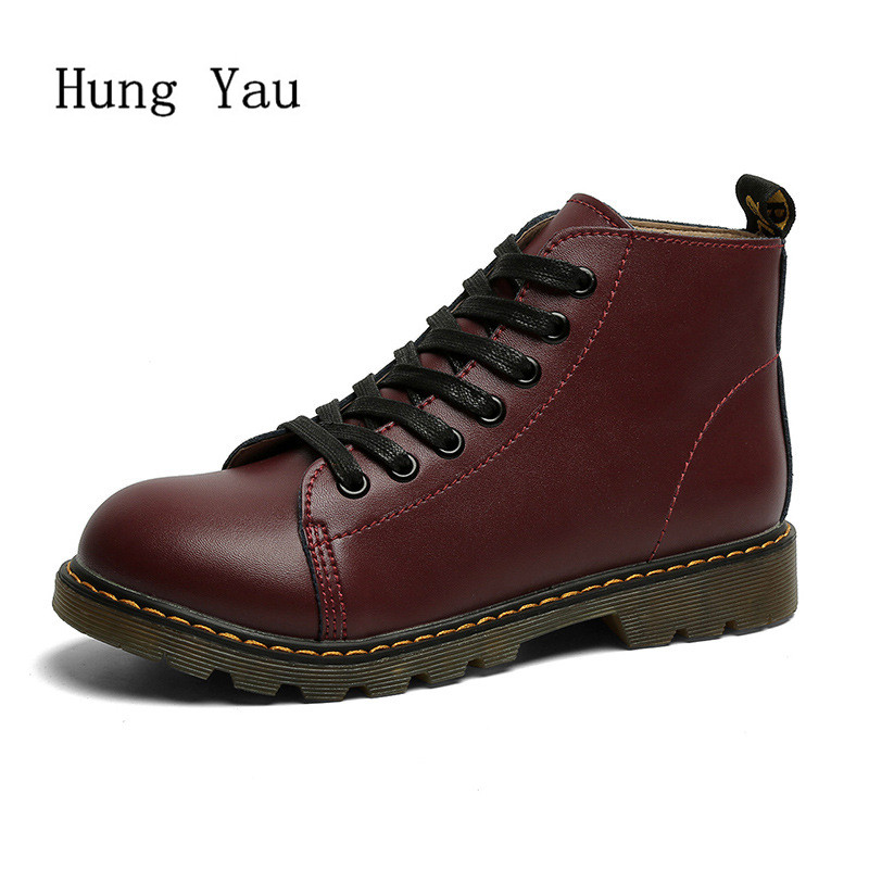 Women Boots 2017 Spring Autumn Fashion Leather Ankle Boots Casual Flats Shoes Woman Outdoor Lace Up Comfortable High Quality spring autumn high quality patchwork future leather high top men casual shoes lace up mixed colors flats ankle wrap mens shoes