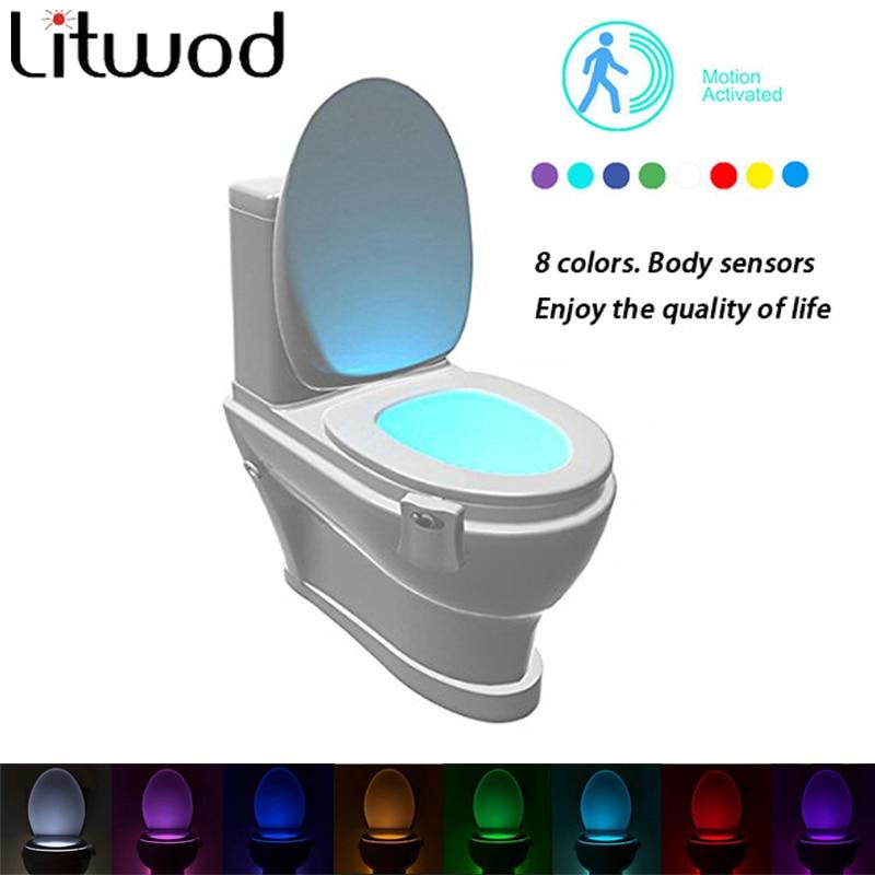 Toilet Nightlight Night Lamp Sensor 8 Color Led Battery Motion Bulbs & Lighting Emergency Dry Atmosphere Card Aaa