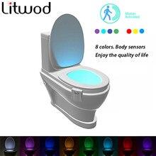 Toaleta Nightlight lampka nocna czujnik 8 kolorów Led baterie ruchu żarówki i oświetlenie awaryjne sucha atmosfera karta Aaa