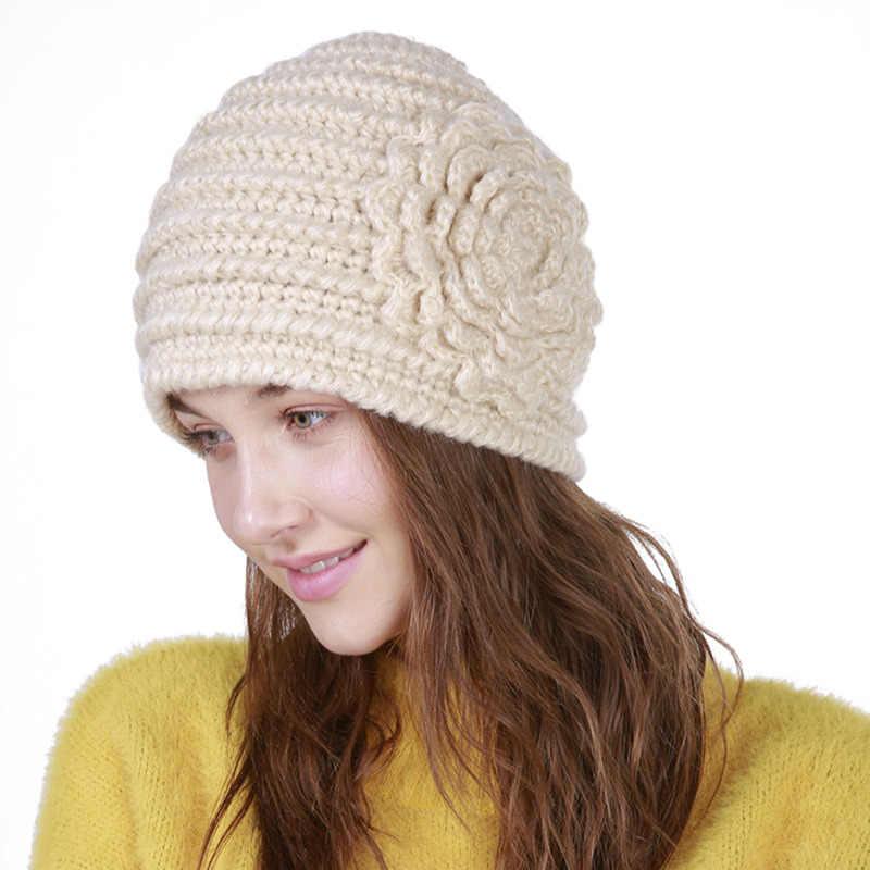 6d7b616b018 ... Liva Girl Winter Hats For Women Flower Pattern Hat 2018 Fashion Crochet  Knit Beanie Caps Warm ...