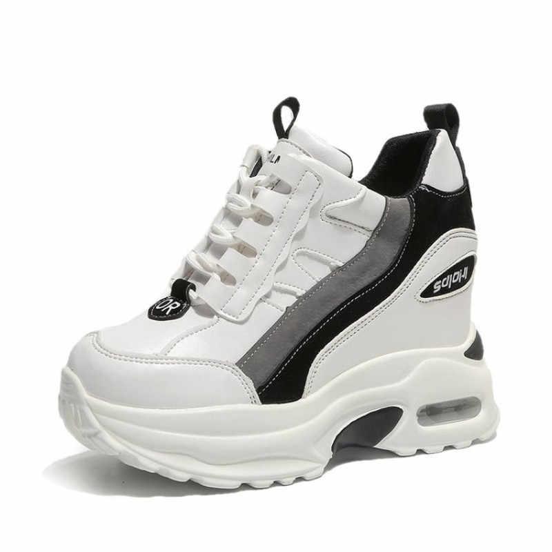 859692b67 ... Мода 2019, женские ботильоны, осенние ботинки на платформе, сникерсы со  скрытым каблуком 10 ...