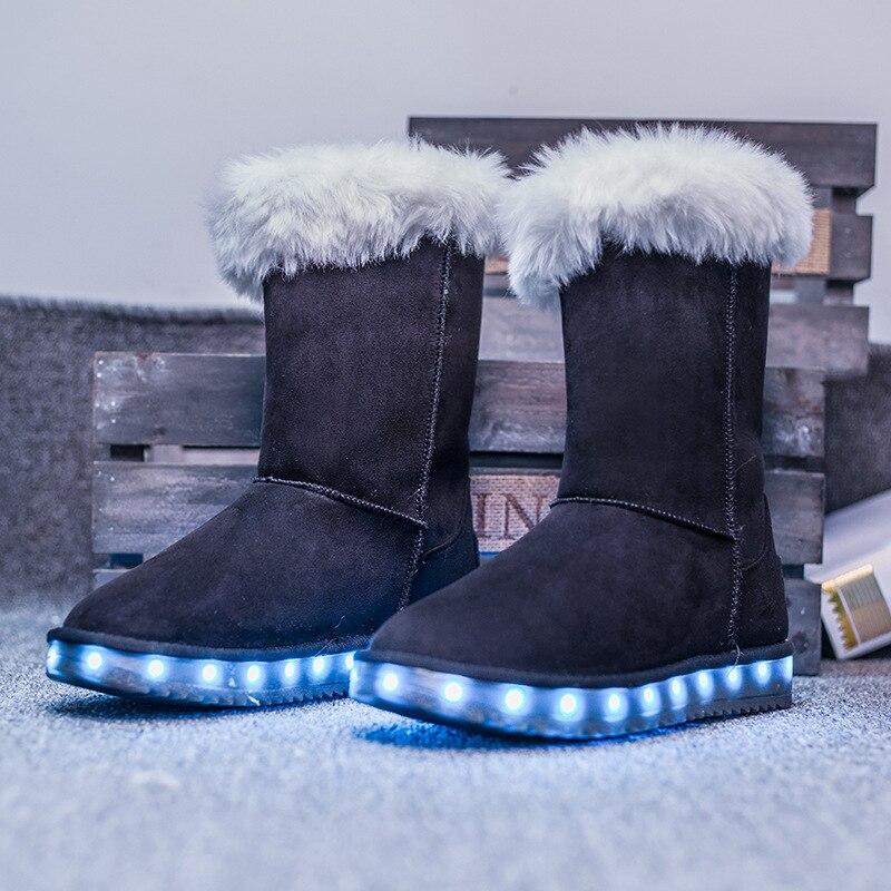 Asr4 rose D'hiver brown Doublure gris Chaussures Polaire Cadeau Plus Neige Fourrure Lumières Led Casual Noël Noir Bottes Taille Femmes De Chaud Cheville mNv0Ow8n