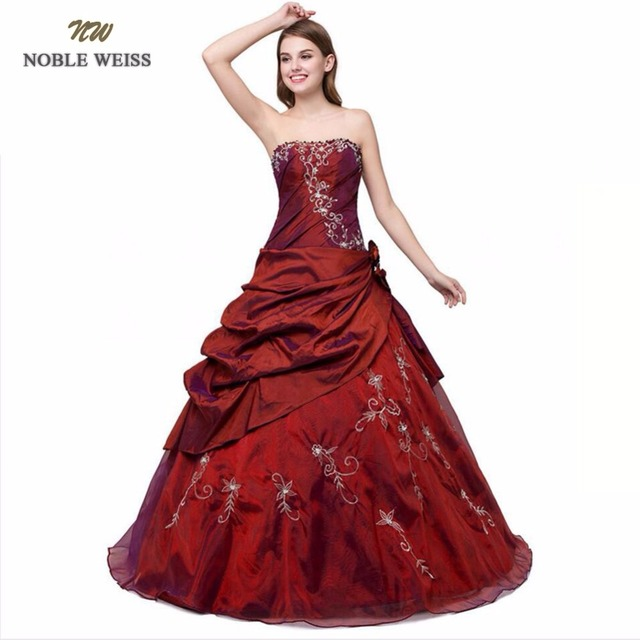 NOBLE WEISS In Stock New Embroidery Beaded Pleat Flower Sweetheart Tulle Cheap Dark Red Purple Blue Quinceanera Dresses