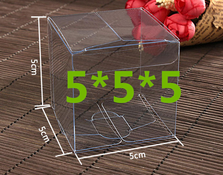 100PCS 5*5*5cm Transparent waterproof Clear PVC boxes Packaging small plastic box storage for food/jewelry/Candy/Gift/cosmetics