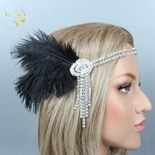 High Quality Black Feather Silver Women Headband with Rhinestone Crystal Bridal Headwear For Wedding and Formal Accessories