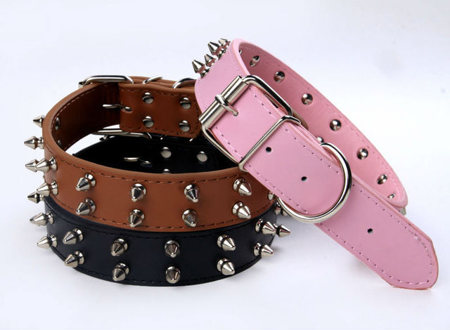 Pet products Wholesale Two row SPIKES pet dog Genuine Matte  leather collar , Free shipping!!! 10pcs/lot 6 colors available