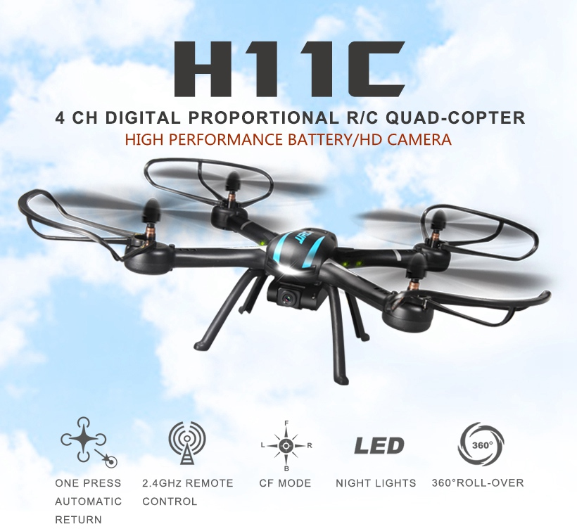 JJRC H11C With 2.0MP HD Camera 2.4G 4CH 6Axis One Key Return RC Quadcopter RTF Remote Control Helicopter Drone 3D Mode H12C H6C with more battery original jjrc h12c drone 6 axis 4ch headless mode one key return rc quadcopter with 5mp camera in stock