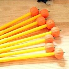 1pcs/lot Novetly Pumpkin Vegetables Head Yellow Gel Pen Design For Students 0.38mm Black Ink