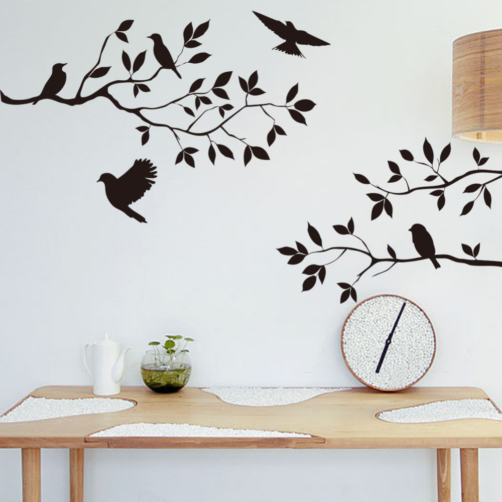 Black Bird Three Branch Wall Stickers Removable Home Living Room Bedroom Kitchen Sofa Background