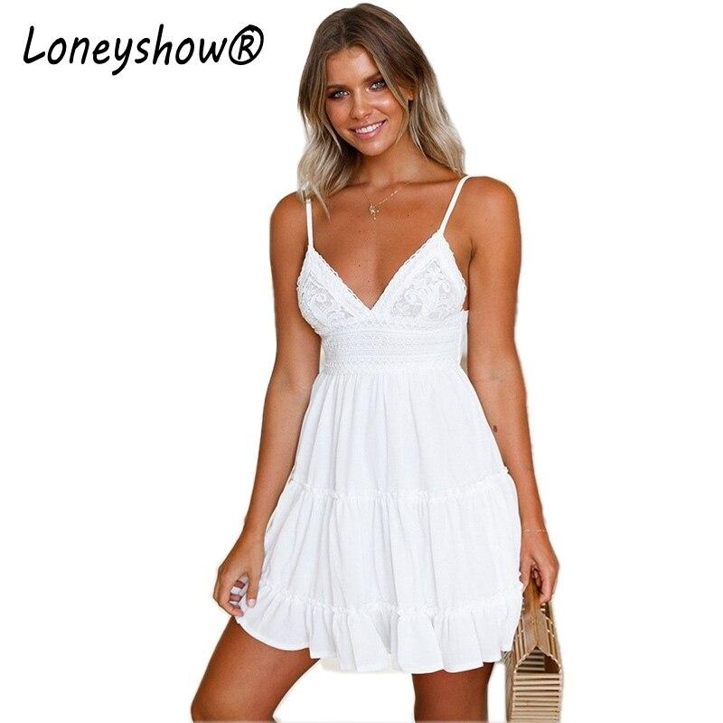 Loneyshow font b 2018 b font New font b Summer b font Women White A Line