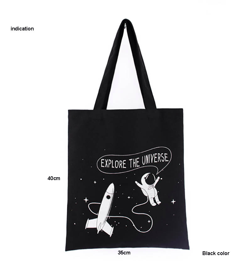 100Pcs Black Size 35*40Cm Customized Logo Silkscreen Print Company Black Tote Bag Eco Green Cotton Canvas Shopping Bags