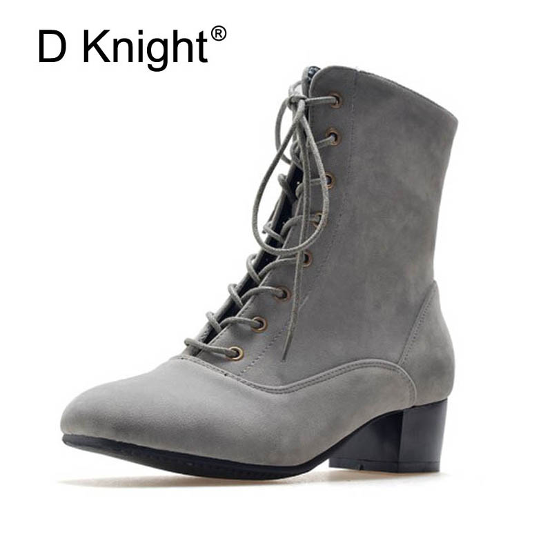 2018 Winter Women Ankle Boots New Autumn Flock High Heel Shoes Women Thick Heel Black Lace up Female Shoes Big Size 34-43 Boots new 2016 fashion women winter shoes big size 33 47 solid pu leather lace up high heel ankle boots zapatos mujer mle f15