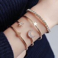 4Pcs/Set Gold Star Moon Heart Open Cuff Bracelets Bangles for Women Rhinestone Crystal Wrist Adjustable Elastic Bracelet Set New