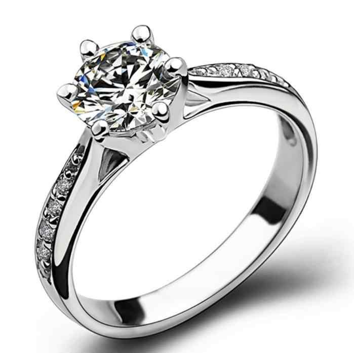 แหวนแฟชั่นผู้หญิงสีขาว AAA Zircon Cubic elegant แหวนหญิงเครื่องประดับอินเทรนด์ใหม่แหวนคริสตัล 6/7 /8/9/10 ขนาด
