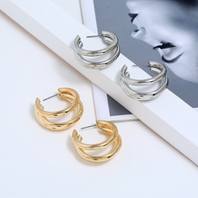 Bohopan Fashion Simple Earrings For Women Multi-layer Female Hoop Hot Sales Creative Gold/Silver Jewelry