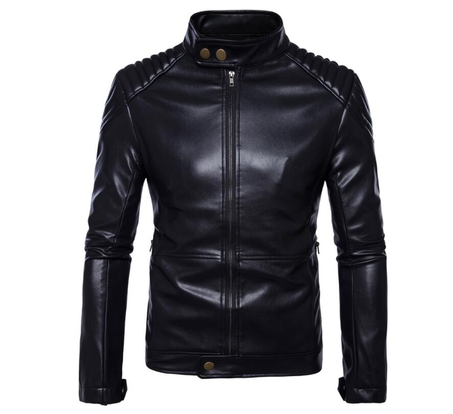 Stand Collar Mens Leather Jacket Slim Motorcycle Leather Coat Men Jackets Clothes Personalized Stage Street Fashion Black