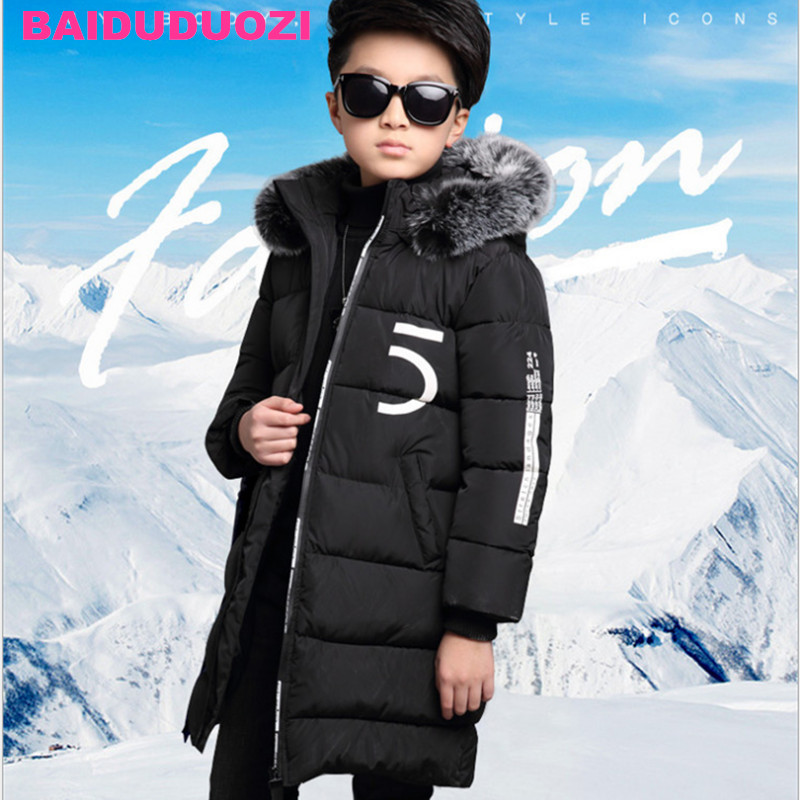 2017 Winter jackets for boys kids thick hooded fur collar down jacket children warm outerwear Winter Clothes park kit for boy 2017 winter down jackets for boys