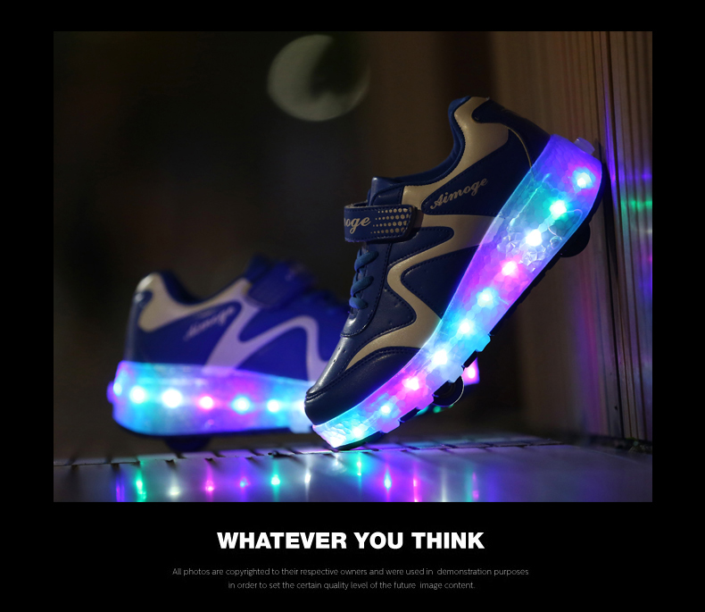 New Popular Kids Glowing Sneakers With Wheels Children Led Shoes Boys Girls Light Up Roller Skate Shoes Stars tenis de rodinha3