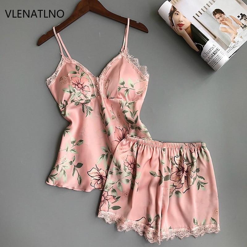 Ladies Sexy Silk Satin Sleepwear Sleeveless Pyjama V-neck Pijama Floral Pajama Set Plus Size Sleep Wear Lace Nightwear For Women