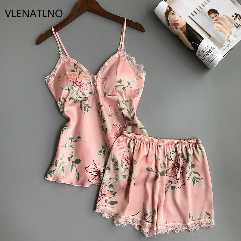 Ladies Sexy Silk Satin Sleepwear Sleeveless Pyjama V-neck Pijama Floral Pajama Set Plus Size Sleep Wear Lace Nightwear For Women